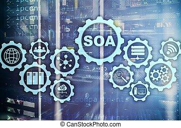 informação, conceito, serviço, tecnologia negócio, oriented, soa., arquitetura, sob, modelo, encapsulation., princípio