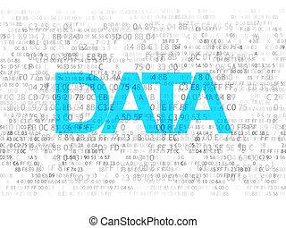 informação, concept:, pixelated, texto, dados, ligado, experiência digital, 3d, render