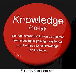 informação, conhecimento, definição, inteligência, botão, ...