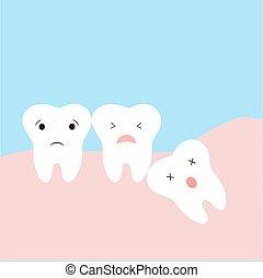 informação, dente, dentes, engraçado, causado, odontologia, sonolento, teeth., emoções, sabedoria, include., ilustração, tooth., impactou, problemas, dystopic, dentes, crianças, caricatura