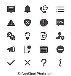 informação, e, notificação, glyph, ícones
