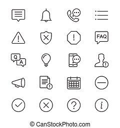 informação, e, notificação, magra, ícones