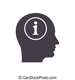 informação, em, cabeça, ícone