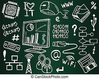 informação, esboço, ícones, escola, tábua, tecnologia ...