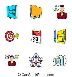 informação, estilo, ícones escritório, jogo, caricatura