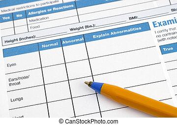 informação, forma, saúde, história, página, pre-participation, físico