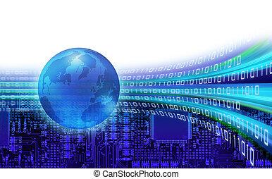informação, global, órbitas