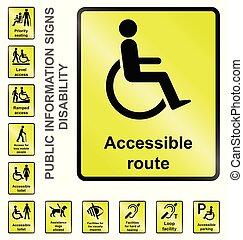 informação, incapacidade, sinais