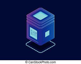 informação, isometric, unidade, base dados, néon, processando, armazenamento, servidor, vetorial, armazém, digital, nuvem, fresco