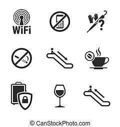 informação, jogo, lugares, ícones, sinais, público