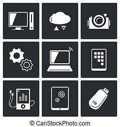 informação, jogo, tecnologia, câmbio, ícones