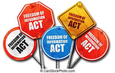 informação, liberdade, fazendo, sinal, coll, rua, ato, áspero, 3d
