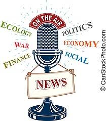 informação, microfone, campanha, ilustração, idéia, vetorial, estúdio, ar., label., notícia, público, retro