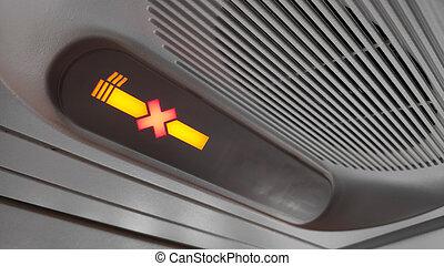 informação, nenhum fumar, despesas gerais, painel, sinal, avião