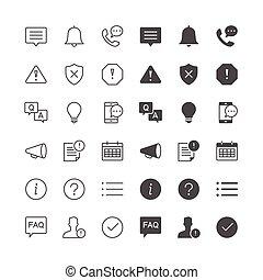 informação, notificação, ícones
