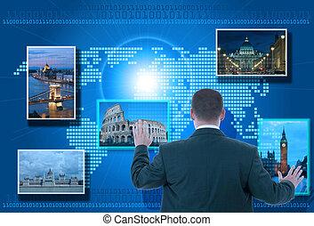 informação, olhar, toque, usando, interface, homem negócios,...