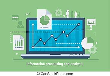 informação, processando, e, análise