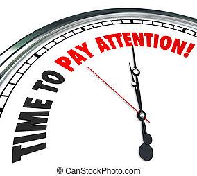 informação, relógio, pagar, atenção, ouvir, palavras, tempo, escutar
