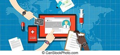 informação, sistema, saúde, registro, hospitalar, médico