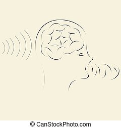 informação, transmitir, processando, cérebro, recepção, tecnologia, esperto