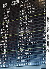informação, vôo, partida, aeroporto, tábua, internacional
