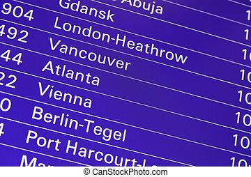 informação, vôo, tela, aeroporto, tábua, partidas