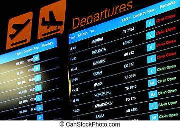informação, vôo, tela, partida, grande, aeroporto, tábua, internacional