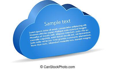 informação, vetorial, nuvem