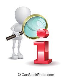 informação, vidro, homem, ícone, magnificar, vermelho, 3d