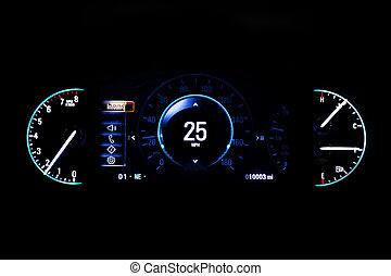 información, 25, kilometraje, luz, moderno, mph, fondo...