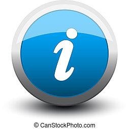 información, 2d, botón, azul
