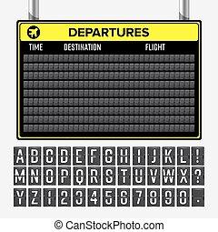 información, alphabet., aalog, aeropuerto, tabla, vector., mecánico, horario, fuente