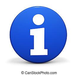 información, azul, insignia
