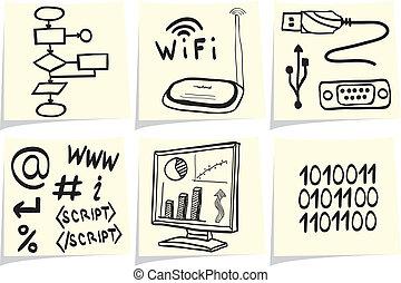 información, bosquejo, palos, iconos, memorándum, amarillo, tecnología de internet