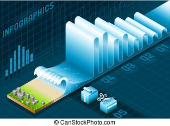 Información, ciudad, gráfico, onda, Conjunto, marina, elementos