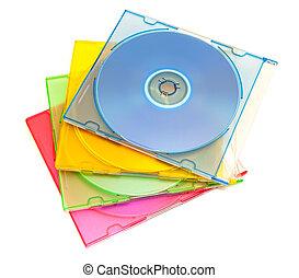 información, color, cajas, almacenamiento, discos