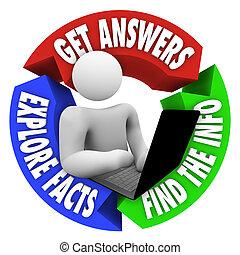 información, computador portatil, buscando, investigación, persona, en línea