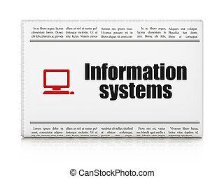 información, computadora computadora personal, sistemas, periódico, concept: