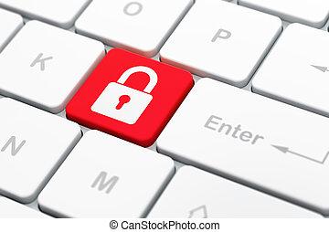 información, computadora, render, teclado, botón, seleccionado, candado, foco, plano de fondo, cerrado, entrar, icono, concept:, 3d