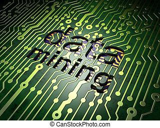 información, concept:, datos, minería, en, tablero de circuitos, plano de fondo