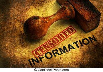 información, concepto,  Grunge, censurado