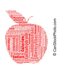 información, concepto, manzana, nutrition-text, arreglo,...