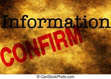 información, confirmar