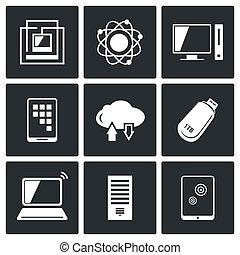información, conjunto, tecnología, intercambio, iconos