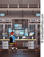 información, controlar, habitación, trabajando, base de datos, centro, hosting, servidor, datos de la computadora, hombre