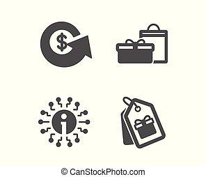 información, cumpleaños, tags., compras, intercambio, dinero, signo., dólar, icons., cajas, cupones, vector, regalos, refund., información
