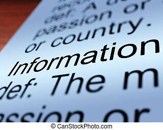 información, definición, primer plano, actuación,...