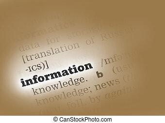 información, diccionario, definición