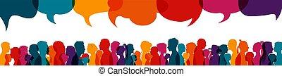 información, discussion., discurso, multiétnico, burbuja, ...