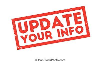 información, estampilla, su, actualización, caucho